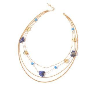 Lapis Lazuli, Blue Glass, Chroma Goldtone Necklace